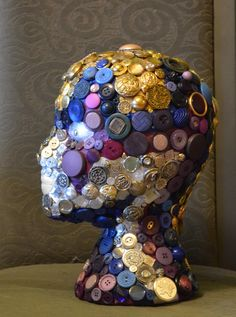 ButtonArtMuseum.com -Yes, I cover styrofoam heads with buttons and things. Strange hobby, but I love doing it. This one is inspired by Colossians 3:4.