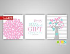 Printable DIY Girl Nursery Art Prints Pink by KidsPrintablesDIY, $12.00