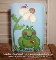 Frog Painted Soap by RomaLandWoodcrafts on Etsy, Painted Bricks Crafts, Brick Crafts, Painted Pavers, Stone Crafts, Painted Rocks, Hand Painted, Spring Painting, Painting For Kids, Art For Kids