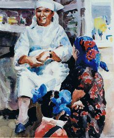 Brian Baxter: Uzbek  Apothacary People, Painting, Art, Art Background, Painting Art, Paintings, Kunst, People Illustration, Drawings