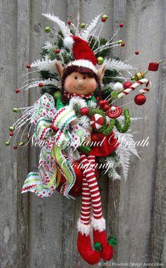 Little Elf Girl Holiday Swag ~A New England Wreath Company Designer Original~ Wreath Crafts, Christmas Projects, Holiday Crafts, Christmas Swags, Holiday Wreaths, Christmas Ornaments, Burlap Christmas, Primitive Christmas, Country Christmas