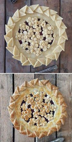 Pie crust design before after karin pfeiff boschek 58 Pie Decoration, Decoration Patisserie, Bon Dessert, Dessert Recipes, Baking Recipes, Creative Pie Crust, Beautiful Pie Crusts, Foto Pastel, Pie Crust Designs