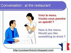 http://youlearnfrench.blogspot.com/  Learn French : basic formal dialogue conversation. talk talking how to order ordering food at the restaurant basic expressions phrases sentences. Pronunciation with english subtitles beginners intermediate advanced everyday life buying shopping waiter waitress customer customers  Aprende frances : dialogo con...