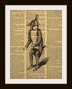 Vintage rabbit boy art print from uniqueartpendant's Etsy shop.