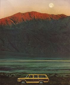 Road trip. When I was about 7 we took a road trip to places like this, in a Wagoneer like this!