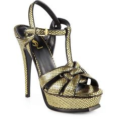Saint Laurent Tribute Snake-Embossed Metallic Leather Platform Sandals 2014