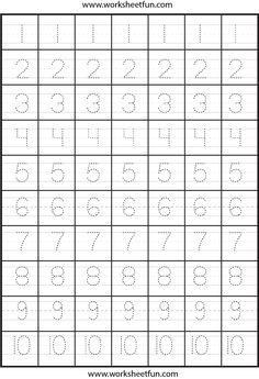 Number Tracing – Two Worksheets / FREE Printable Worksheets Free Printable Handwriting Worksheets, Preschool Number Worksheets, Alphabet Tracing Worksheets, Preschool Writing, Numbers Preschool, Kindergarten Math Worksheets, Abc Worksheets, Preschool Alphabet, Alphabet Crafts