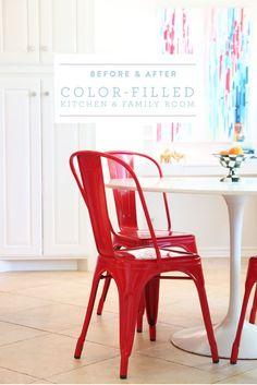 Colorful kitchen & living room makeover - white kitchen - preppy - nautical @pencilshavingsstudio