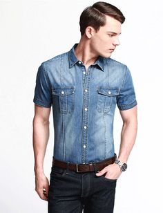 Short Sleeve Light Colored Chambray Men's Shirt