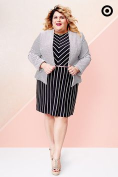 Vertical. Horizontal. Chevron. You can never go wrong with black and white stripes. Add a belt to this AVA & VIV Plus dress to accentuate your curves, then top it off with a striped blazer for a sophisticated look.