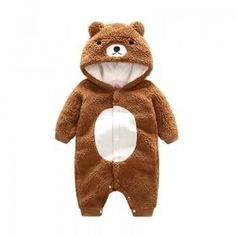 Baby's Adorable Bear Hooded Long-sleeve Jumpsuit for Babies