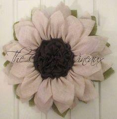 Soft White/Cream Flower Burlap Wreath, Sunflower, Spring Wreath, Summer Wreath, Customizable Wreath - pinned by pin4etsy.com
