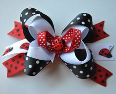 Ladybug Bow Hair Bow, Toddler Hair Bow, Girls Hair bow.