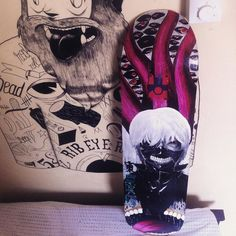 Instagram #skateboarding photo by @eljayminati - My first hand painted skateboard finally done! Detailed as much as I can and I now I dont know if ill gonna use it or not #artwork #traditional #acrylic #conceptart #like4like #tokyo #tokyoghoul #kaneki #ink #art #skateboarding #longboard #philippines #handmade #tattoo #tattoos #worldofartists #vsco #vscocam. Support your local skate shop: SkateboardCity.co