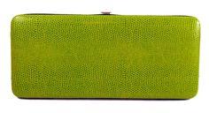 Green Snake Skin Print Hard Clutch Wallet