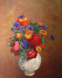 Odilon Redon  Flowers in a White Vase  Early 20th century