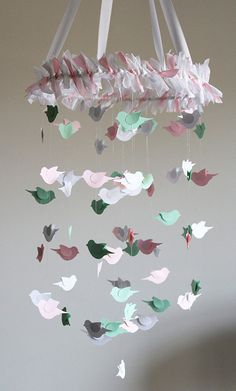 Bird Nursery Mobile  Pink White Green Mobile by mauilustre on Etsy, $49.00. It's really cute, but $50 for some paper and ribbon! This is a prime example of why I need to sell on etsy!