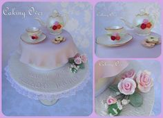 Tea party themed 70th birthday cake by Caking Over