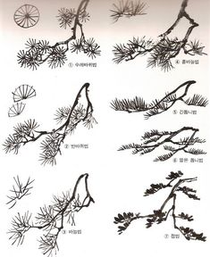 자료·보물창고 > 그림공부방 > 산수화 기초-솔잎 그리기 Japanese Art Prints, Japanese Ink Painting, Sumi E Painting, Chinese Landscape Painting, Korean Painting, Japan Painting, Landscape Sketch, Chinese Painting, Chinese Art