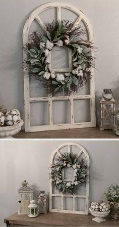 Farmhouse Wall Decor, Distressed Window Pane, Grapevine Wreath, Wall Decor, Housewarming Gift, Wedding Decor, Rustic Wall Decor, Farmhouse decor #ad