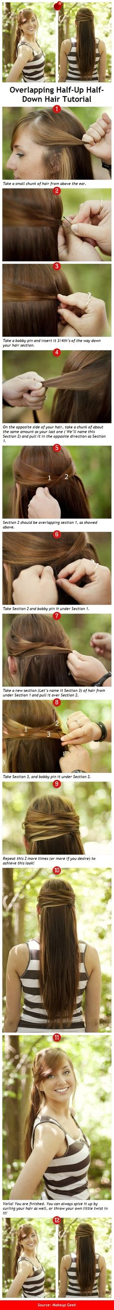 Overlapping Half-Up, Half-Down: DIY Hair Styling