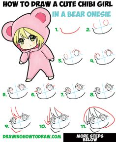 How to Draw a Cute Chibi Girl Dressed in a Hooded Bear Onesie Pajamas Costume with Simple Steps Drawing Tutorial for Beginners Easy Drawing Tutorial, Chibi Tutorial, Girl Drawing Easy, Eyes Chibi, Chibi Manga, Naruto Chibi, Chibi Cat, Chibi Girl Drawings, Doodle Drawings