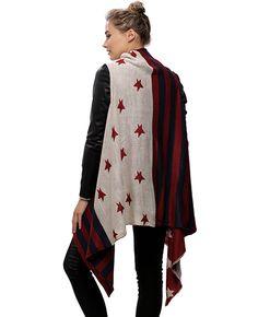 Navy & Red / 100% Acrylic / American Flag Vest / 3 Stripe Shawl