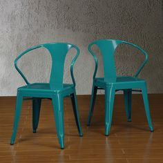 Time to strut your stuff with these stylish stacking chairs in a fun peackock blue color. The Tabouret chairs are perfect for the contemporary home to provide additional seating in minimal space.
