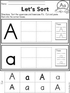 This Alphabet Cut & Paste Activity is great for practicing Uppercase & Lowercase Letters. A great morning work, independent work, or center for kindergarten or first grade students learning their letters. Numbers Preschool, Preschool Lessons, Preschool Activities, Preschool Printables, Preschool Class, Handwriting Activities, Alphabet Activities, English Writing Practice, Alphabet Practice Sheets