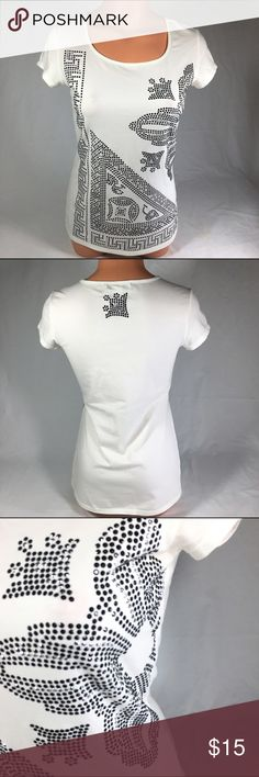 """WHITE HOUSE BLACK MARKET XS Sequin Stretch Top WHITE HOUSE BLACK MARKET Women's Size XS Sequin Stretch Knit Top Bling  Item Condition - Gently Used  Brand - White House Black Market  Size - XS  Material- 92% Cotton, 8% Spandex  Pattern - Solid with Bling design  Sleeve Style - Cap Sleeve  Color - White with Black and Silver Accents  Measurements  Armpit to Armpit: 16.5""""  Sleeve- 4""""  Length - 24""""  Shipped from a smoke-free, pet-free home White House Black Market Tops Tees - Short Sleeve"""