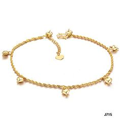 Fate Love Heart Shape Pendant Twisted Rope Chain Anklet 18k Gold Plated Foot Chain 8 Adjustable -- Read more at the image link.