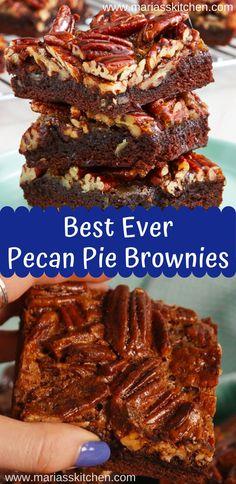 Best Ever Pecan Pie Brownies - Maria's Kitchen Pecan Brownies Recipe, Brownie Mix Recipes, Pecan Pie Cake, Best Pecan Pie, Pie Brownies, Brownie Toppings, Cake Mix Recipes, Boxed Brownies, Pecan Cookies
