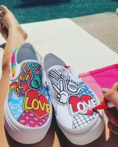 Behind The Scenes By by_jordana Custom Vans Shoes, Mens Vans Shoes, Nike Air Shoes, Custom Sneakers, Vans Men, Shoes Sneakers, Painted Canvas Shoes, Custom Painted Shoes, Painted Sneakers