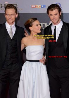 Tom Hiddleston, Natalie Portman, Chris Hemsworth. This is so funny. Chris's face though.