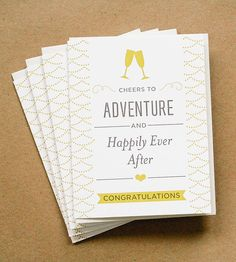 Cheers to Adventure Wedding Card - Set of 5 by Paper Parasol Press on Scoutmob Shoppe.