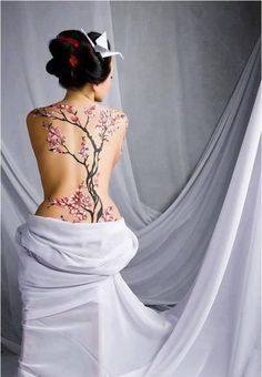 full back tattoo of japanese cherry blossom tree on japanese woman's back  February 2015 #bigtattoosonback