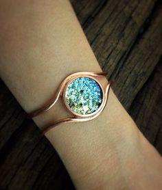Iridescent Bismuth Bracelet with Copper Cuff