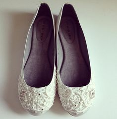 French Pleat Bridal Ballet Flats Wedding Shoes by BeholdenBridal