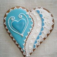 beautifully decorated heart cookies