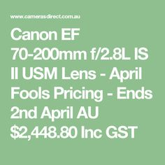 Canon IS Version II is one of the most popular of all Canon L series lenses. This lens is soon to be discontinued with Version III. Canon L Series, Canon Ef, Camera Lens, Lenses, April Fools, Search, Searching, April Fools Pranks, April Fools Day