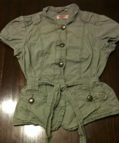 Junior Girls Army Green Button Up T Shirt Vest By No Boundaries With Pockets ***  Very Cute Sleeveless Jacket! Combined Shipping Offered! on eBay