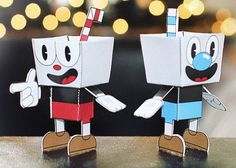 Cuphead and Mugman Free Paper Toys Download - http://www.papercraftsquare.com/cuphead-and-mugman-free-paper-toys-download.html#Cuphead, #Mugman