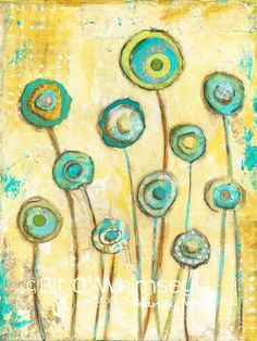 Poppies in Blue..8 x 10 print from original mixed media and collage painting by Kandy Myny: