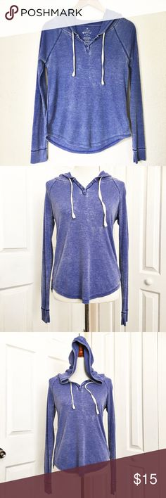 """American Eagle Long Sleeve Thermal Blue distressed look thermal by American Eagle.  Thermal is hooded and has a 3 button closure and ties at neck.  Top is in good condition.  Very soft being made of 57% cotton and 47% polyester.  Measurements laid flat: bust 18"""" and length from top of shoulder to hem is 22"""". American Eagle Outfitters Tops Tees - Long Sleeve"""
