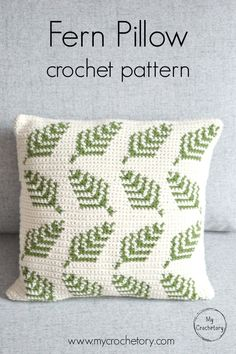 Make your own delightful crochet Fern Pillow with a beautiful botanical motif. In a quick way brighten up your living room or give someone you love as a gift. This crochet pillow is easy to make and the pattern includes colors graph and full written instr Crochet Cushion Cover, Crochet Cushions, Blanket Crochet, Crochet Granny, Crochet Curtains, Crochet Pillow Patterns Free, Knitting Patterns, Free Pattern, Afghan Patterns