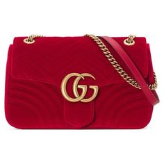 Women's Gucci Medium Gg Marmont 2.0 Matelasse Velvet Shoulder Bag (€1.615) ❤ liked on Polyvore featuring bags, handbags, shoulder bags, hibiscus red, shoulder bag purse, over the shoulder handbags, velvet handbag, flap shoulder bag and gucci purse