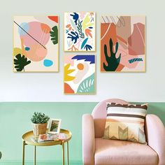 Modern Colorful Abstract Nordic Gallery Wall Art Fine Art Canvas Prints Contemporary Style Scandinavian Design Home Interior Wall Decor Floral Wall Art, Wall Artwork, Wall Art Prints, Wall Art Canvas Painting, Watercolor Wall Art, Gallery Wall Artwork, Leaf Wall Art, Abstract Wall Art, Girls Bedroom Art