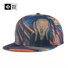 Great Famous Painting 3D Printed Hats Baseball Caps Snap Back Hiphop Cap Gorras Planas Strapback Bone Gorras Mens Womens Fashion