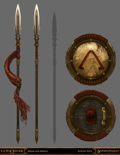 God Of War: Ghost Of Sparta concept art arrives Fantasy Sword, Fantasy Armor, Fantasy Weapons, Medieval Fantasy, God Of War, Mascara Oni, Spears Weapon, Armadura Medieval, Anime Weapons