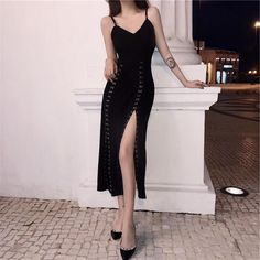 Black Elegant Party Suspender Dress Source by spreepicky outfits elegant Edgy Outfits, Korean Outfits, Classy Outfits, Pretty Outfits, Dress Outfits, Fashion Dresses, Black Dress Outfit Party, Fashion Clothes, Elegant Outfit